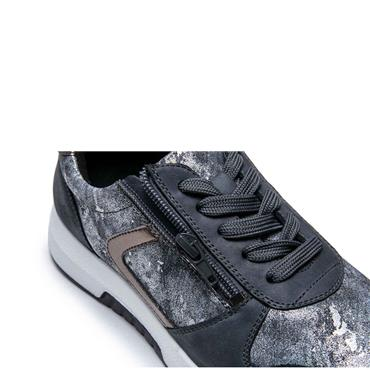 G COMFORT WOMENS ZIP LACE TRAINER - JEANS SILVER
