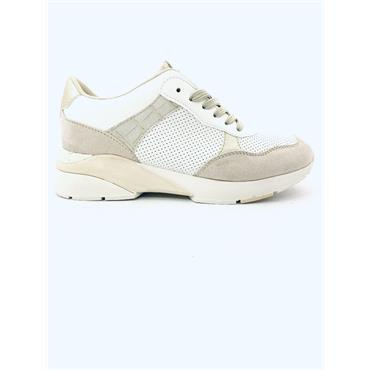 SPROX WOMENS WEDGE LACE TRAINER - WHITE BEIGE