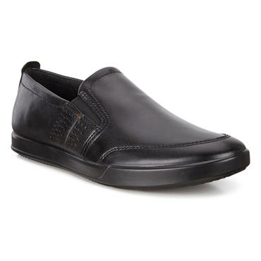 ECCO MENS STITCH SLIP ON SHOE - BLACK LEATHER