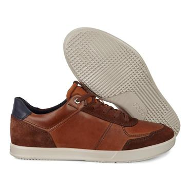 ECCO MENS CASUAL LACE SHOE - BRANDY AMBER