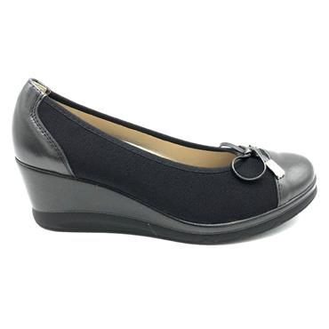 PITILLOS WOMENS WEDGE BOW COURT SHOE - BLACK