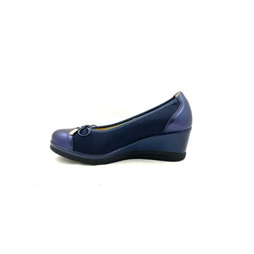 PITILLOS WOMENS WEDGE BOW COURT SHOE - NAVY