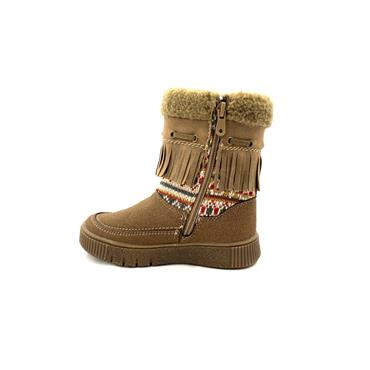 XTI GIRLS FUR TOP BOBBLE ZIP ANKLE BOOT - TAUPE