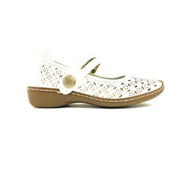 LADYBIRDS WOMENS VELCRO STRAP SHOE - WHITE