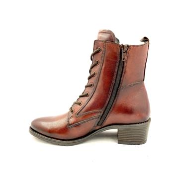 BUGATTI WOMENS LEATHER  ANKLE BOOT - BROWN LEATHER