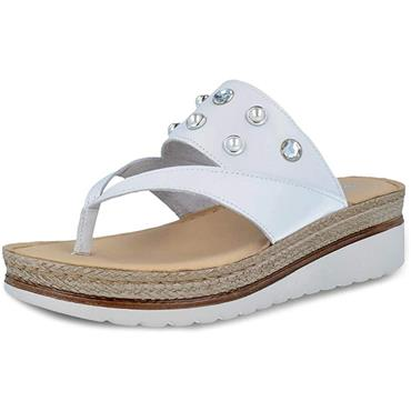 PITILLOS LDS WEDGE STONE STRAP TOE POST - WHITE