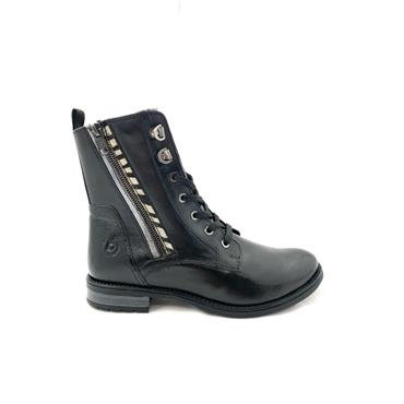 BUGATTI WOMENS LEATHER ANKLE BOOT - BLACK LEATHER