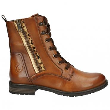 BUGATTI WOMENS LEATHER ANKLE BOOT - COGNAC LEATHER