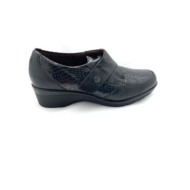 PITILLOS LDS WEDGE CROC VEL STRAP SHOE - BLACK