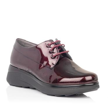 PITILLOS WOMENS WEDGE LACE SHOE - BURGUNDY PATENT