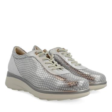 PITILLOS WOMENS LOW WEDGE LACE SHOE - SILVER