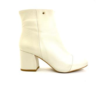 LAURA B.WOMENS LEATHER ZIP ANKLE BOOT - BONE LEATHER