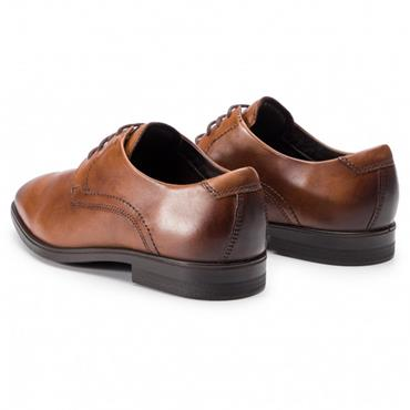ECCO MENS PLAIN TOE DRESS LACE SHOE - AMBER