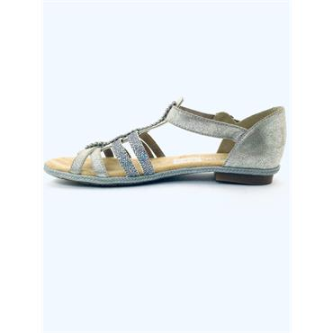 RIEKER WOMENS DIAMANTE T STRAP SANDAL - METALLIC