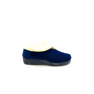 NATALIA WOMENS FUR LINED FULL SLIPPER - NAVY SUEDE