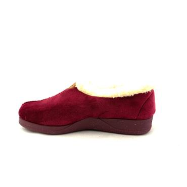 NATALIA WOMENS FUR LINED FULL SLIPPER - WINE SUEDE