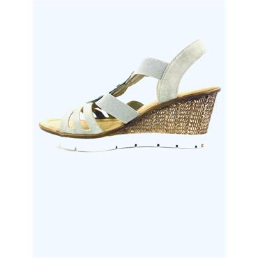 RIEKER WOMENS WEDGE ELASTIC STRAP SANDAL - GREY