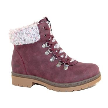 REFRESH WOMENS ZIP LACE ANKLE BOOT - BURGUNDY