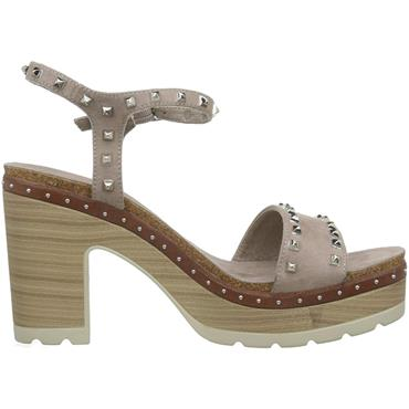 REFRESH WOMENS STUD ANKLE STRAP SANDAL - TAUPE SUEDE