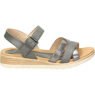 REFRESH WOMENS LOW WEDGE STRAP SANDAL - NUDE MULTI