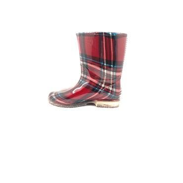 MEIVA GIRLS PLAID WELLINGTON - DARK RED