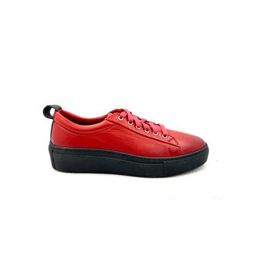 ROVIGO WOMENS LEATHER LACE SHOE - RED LEATHER