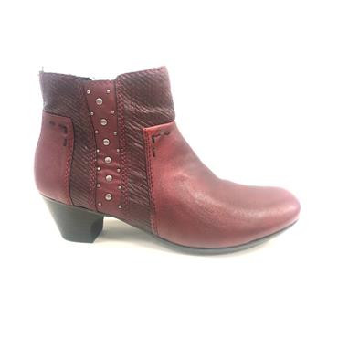 RIEKER WOMENS STUD ZIP ANKLE BOOT - RED