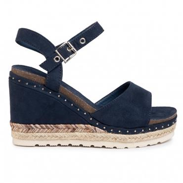 REFRESH WOMENS WEDGE STRAP SANDAL - JEANS SUEDE