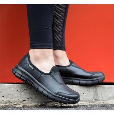 SKECHERS WOMENS SLIP RESISTANT SHOE - BLACK