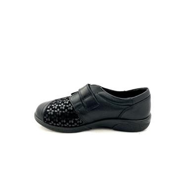 EASY B WOMENS KESWICK 2V VEL STRAP SHOE - BLACK