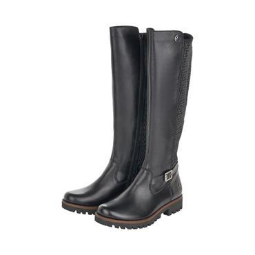 RIEKER WOMENS STRAP ZIP HIGH LEG BOOT - BLACK