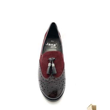 JANA WOMENS FLAT TASSEL BROGUE SHOE - WINE