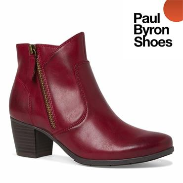 JANA WOMENS 2 ZIP ANKLE BOOT - RED