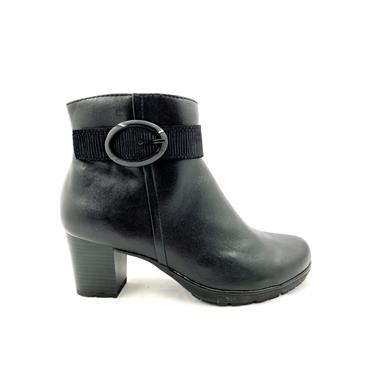 JANA WOMENS BUCKLE STRAP ZIP ANKLE BOOT - BLACK