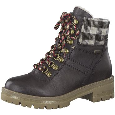 JANA WOMENS TEX 7 EYE LACE ANKLE BOOT - BROWN