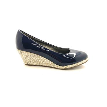 REDZ LDS WEDGE ROPE SOLE COURT SHOE - NAVY