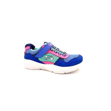 SKECHERS GIRLS VELCRO LACE TRAINER - BLUE MULTI
