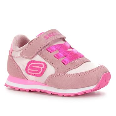 SKECHERS GIRLS VELCRO LACE TRAINER - PINK MULTI