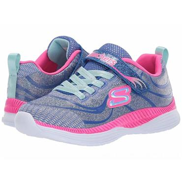 SKECHERS GIRLS VELCRO STRAP TRAINER - BLUE HOT PINK