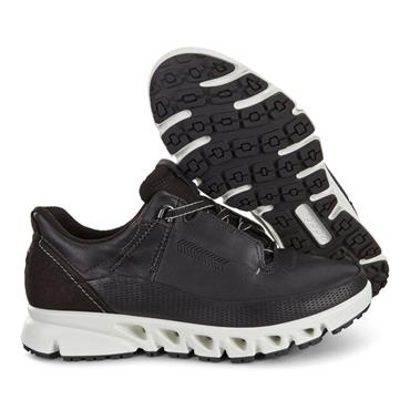 ECCO WOMENS GORETEX LACE TRAINER - BLACK LEATHER