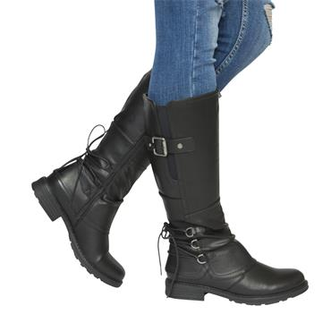 REDZ WOMENS BACK LACE ZIP HIGH LEG BOOT - BLACK