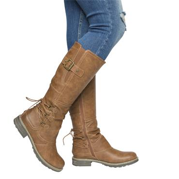 REDZ WOMENS BACK LACE ZIP HIGH LEG BOOT - TAN