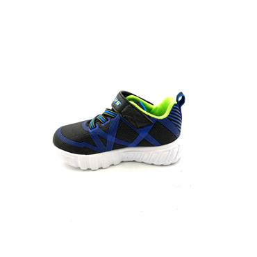SKECHERS BOYS VELCRO LACE LIGHTS TRAINER - BLACK BLUE LIME