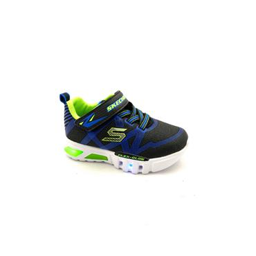 SKECHERS BOYS VEL LACE LIGHTS RNR - BLACK BLUE LIME