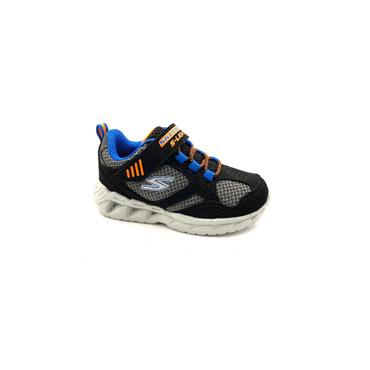 SKECHERS BOYS VEL CORD LIGHTS RUNNER - BLACK BLUE