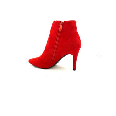REDZ LDS POINT TOE ZIP ANKLE BOOT - RED SUEDE