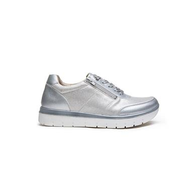 G COMFORT WOMENS ZIP LACE TRAINER - WHITE SILVER