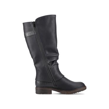 RIEKER WOMENS TEX ZIP HIGH LEG BOOT - BLACK