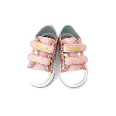 PABLOSKY GIRLS VELCRO STRAP CANVAS SHOE - ROSE GLITTER