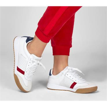 SKECHERS WOMENS ROCKERS LACE TRAINER - WHITE RED NAVY